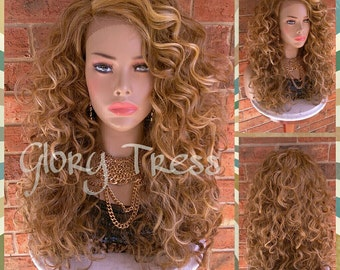 READY To SHIP //Celebrity Inspired Lace Front Wig, Blonde Wig, Long Curly Lace Front Wig // GLADNESS (Free Shipping)