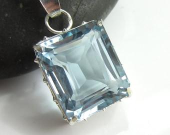 Clear Water Necklace - Baguette Cut Sky Blue Quartz  in Sterling Silver