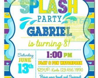Splash Party Invitation, Pool Party Birthday Invitation, Boy Pool Birthday, Summer Birthday, Colorful Splash Birthday, Splish Splash Invite