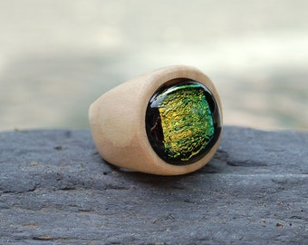 Wood Ring Glass Cab Fused Dichro Wooden Jewelry Green Size 8
