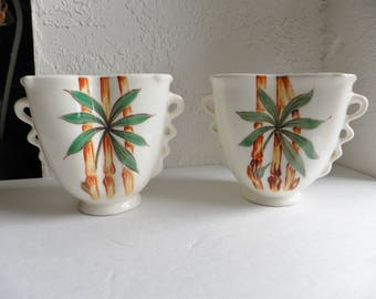 Hand Painted Bamboo Pottery Vases Mid Century Modern USA