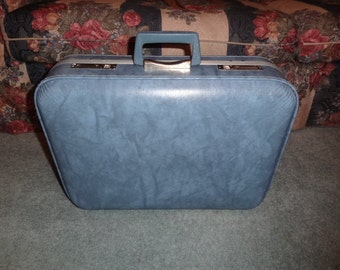 Vintage Light Blue Marbled Small Suitcase / Luggage