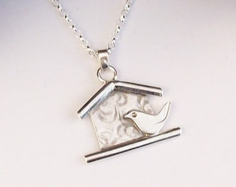 Bird Necklace, Robin Bird Necklace , Silver Bird Necklace, Robin Pendant , Decorative Bird Necklace , Hallmarked UK