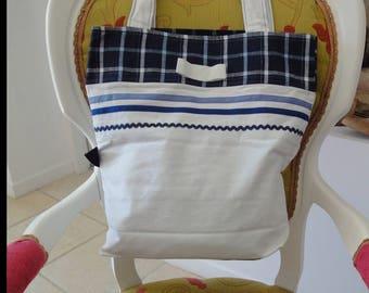 "large ""seaside"" canvas tote bag"