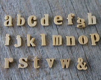 Gold Initial Pendant 2 pcs / Lowercase Matte Gold Letter Charm 2 pieces / Jewelry Supplies Findings / Letter Initial Charm / USA Seller