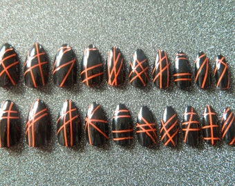 Black and Orange False Nails