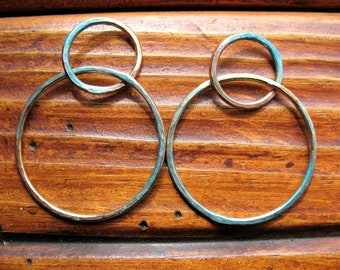 Hammered Brass Double Hoop Findings with Aqua Shimmer - 1 pair - 1.5 inches in length - 16 gauge