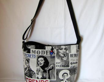 "Large handbag ""Pin-up"" black and grey"