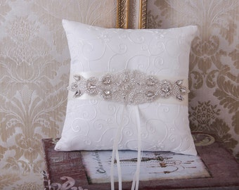 Wedding Ring Bearer Pillow, Rhinestone Ring Bearer Pillow, Crystal Wedding Ring Pillow