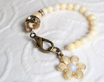 PEARL FLOWER CHARM Bracelet Genuine Mother of Pearl and Genuine Baroque Pearl and Rhinestone Bracelet