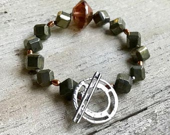 Pyrite and Sterling Silver Minimalist Geometric Beaded  Bracelet  Urban Industrial For Her Under 150 Free  Gift Wrap