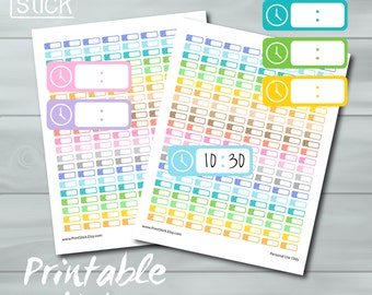 Hour Planner Stickers - PRINTABLE - Time Slot Stickers for Erin Condren or Happy Planners. Don't lose track of time!