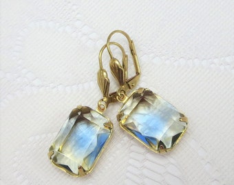 Blue Yellow Earrings Vintage Style Summer Earrings Jewelry Gift
