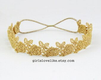 Gold Skinny Rose  Lace Elastic Headband, Bridal Headband, Elastic Headband, Boho Headband, Hair Band