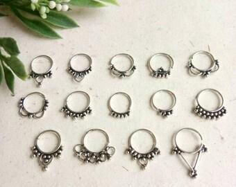 Septum Ring, Real septum, 14 Designs, Handmade, silver Septum Ring, piercing Septum, Cuff, Septum Clip, Tragus, Helix, Cartilage. GS14