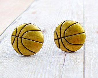 Basketball - antique brass post earrings