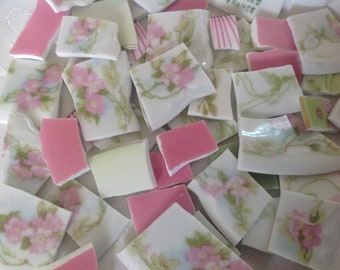 Broken China mosaic tiles~~Handcut tiles~~PINK and GReeN~~ShaBbY anD SWeeT