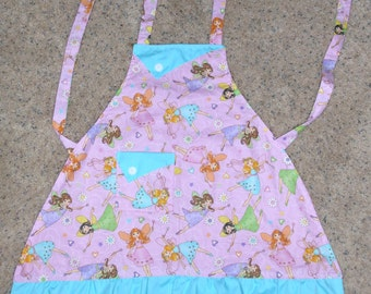 Fairies and Flowers - Girl's Apron - pocket - ruffle - wings - pink