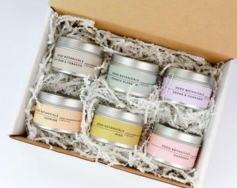 Travel Candle Set - Set of 6 Soy Candles in 4-Ounce Tins - Bay Rum Tobacco - Orange Blossom - Cedar Cannabis - Jasmine - Gardenia - Pine