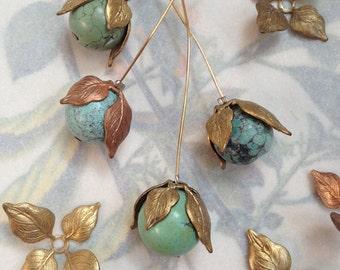 Vintage Leaf Bead Caps, Nature Beads Caps, Texture Brass Bead Caps, Leaf Findings, 24Pcs
