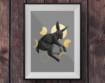 Zodiac Moon Hare - Limited Edition Signed Print