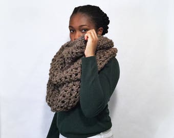 Brown Infinity Scarf, Large Blanket Scarf, Oversized Knit Scarf, Knit Accessories, Knit Snoodie, Knit Hooded Scarf, Brown Knit Blanket Scarf