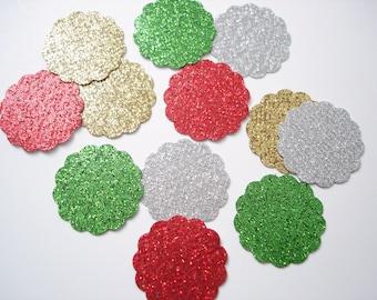 50 Glitter Scalloped Circle Confetti, Christmas Confetti, Party Decorations - No774