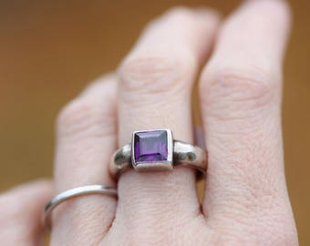 Square Faceted Amethyst Sterling Silver Ring size 7.5