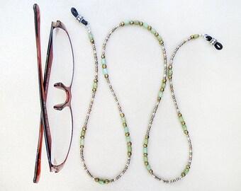 Boho Brillen-Kette, Perlen, Grün Türkis, gemischt Metallic Farbe Perlen, handgefertigt, Halskette für Gläser, Geschenk für Lehrer, Handwerker, Profis