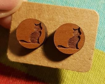 Laser cut wood cat eaarings