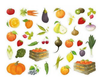 68 multifaceted stickers - garden vegetables & Fruits
