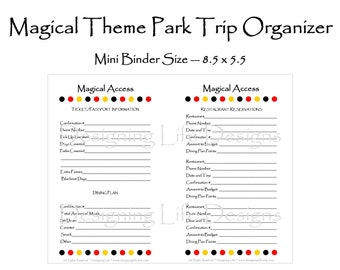 Editable Vacation Planner - Magical Theme Park Half Pages 5.5 x 8.5