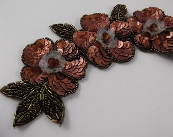 Copper Blossom - Antique/Vintage Art Deco Floral Sequin Beaded Applique Patch Embellishment Accessory Clothing Purses Headband Brooch Craft
