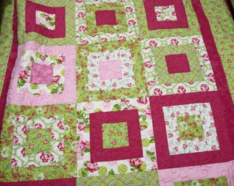 Handmade Quilt Lap  Throw  or baby girl crib quilt Gorgeous Roses in Bloom