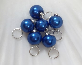 Pearl dangle charms, 6mm Royal Blue, blue glass pearl beads, dangle charms, blue pearl dangles, blue charms, bead charms, pearl dangles