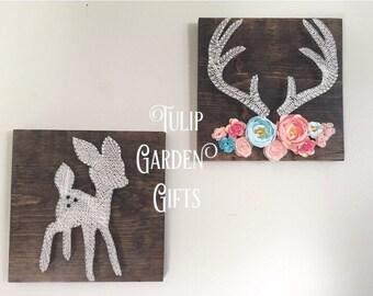 Little Deer String Art, Deer String Art, Baby Deer String Art, Antlers with Flowers, Antler String Art, Deer Nursery Decor, Floral Antlers