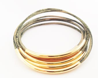 Natural Green Leather Bangle Bracelet with Gold or Silver Tube Accents, Wrap Bracelet, Gift Idea, Stacking Bangle Bracelet, Charm Bracelets