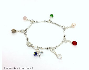 Silver Plated Purity Charm Bracelet Link Style Custom Made to Order Shipping upgrade to Priority possible