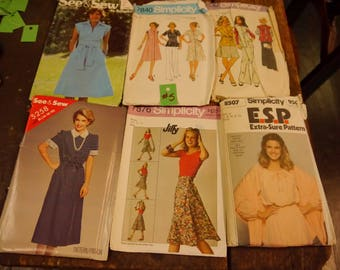 Vintage Ladies 70s 80s Sewing Patterns Lot #5