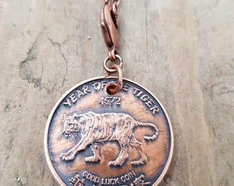 1974 year of the tiger coin from Chinatown Victoria bc copper coin necklace