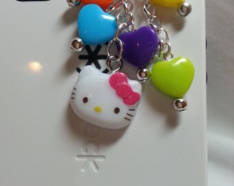 Kitty cell phone charm, kawaii cell phone dust plug charm, iphone charm, iphone bling, headphone jack charm, cell phone dust plug