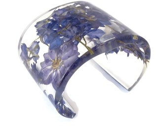 Modern Botanical Eco Resin Cuff. Wide Bracelet with Personalized Engraving. Purple Larkspur Chunky Cuff Bracelet Adjustable Size Small Large