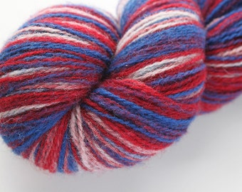 KAUNI Estonian Artistic  Gradient Wool Yarn Red - Blue - White  8/2, Art Wool  Yarn for Knitting, Crochet