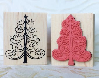 Starry Christmas tree rubber stamp from oldislandstamps