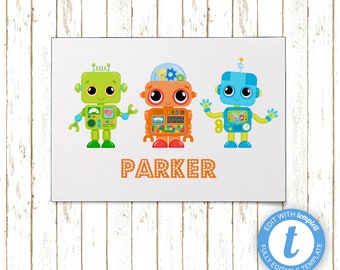 Robots Thank You Cards | Printable PDF or JPEG | Templett | KBI210TY