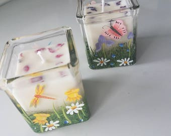 Hand painted container 100% soy candle floral scent clary sage
