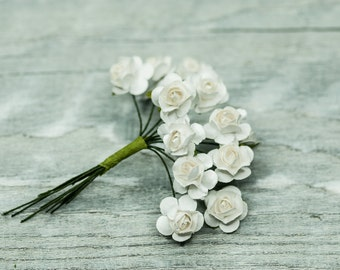 Small White Roses, Mullberry Paper Roses, Paper Flowers, Miniature Flowers, Miniature Roses, Craft Flowers, Boutonniere Flowers Fake Flowers