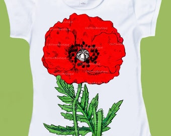 Red Poppy T-Shirt, vintage botanical Poppy, girls clothes, Tank, Red Flower Tee, Baby One piece Bodysuit by ChiTownBoutique.etsy