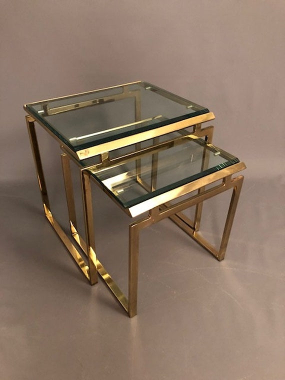 Hollywood Regency Nesting Brass and Beveled Glass Tables