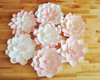 Set of 7 Paper Flowers 14 inches - Paper Flower Wall | Paper Flower Backdrop | Paper Flower Decor | Baby Nursery Decor | Paper Flowers